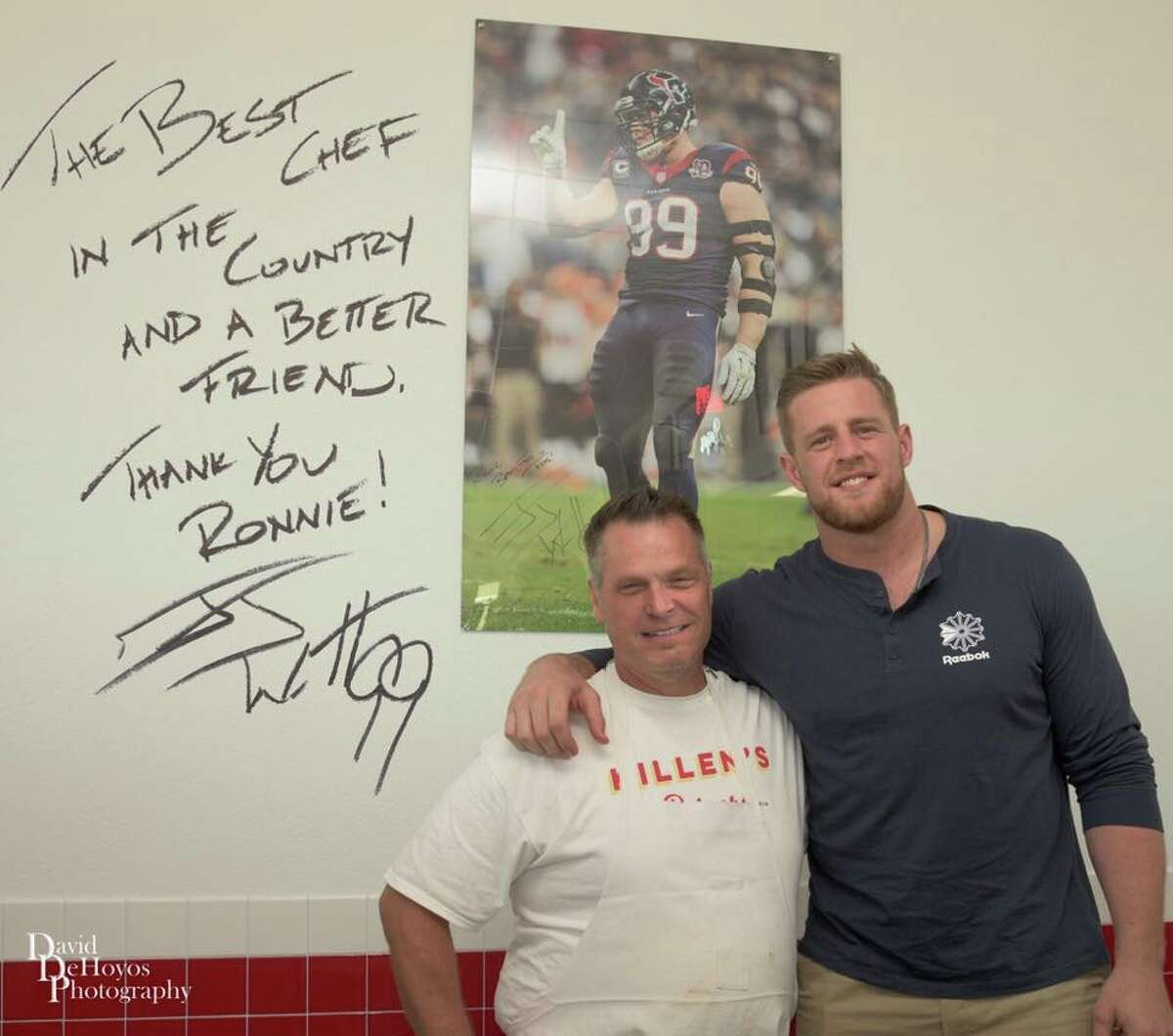 J.J. Watt The recently opened Killen's Burgers in Pearland includes a tribute to Texans star Watt called the #99 Burger. It consists of two 10-ounce patties with Wisconsin yellow cheddar cheese and Nueske's bacon. It's served with a side of Wisconsin cheese curds.
