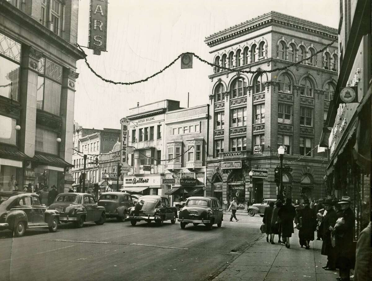 Downtown Troy at the corner of Fulton Street and River Dec. 1, 1949.