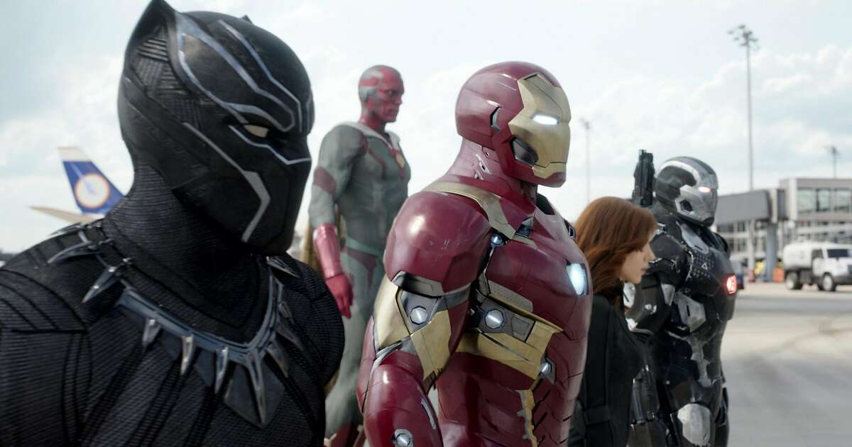 Black Panther-T'Challa (Chadwick Boseman), Vision (Paul Bettany), Iron Man-Tony Stark (Robert Downey Jr.), Black Widow-Natasha Romanoff (Scarlett Johansson), and War Machine-James Rhodey (Don Cheadle) in