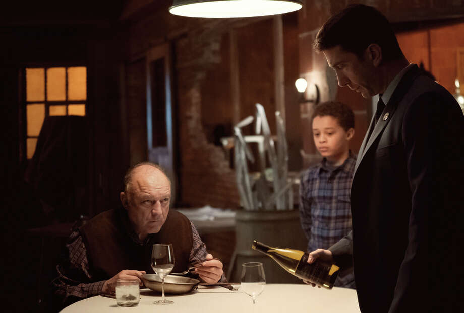 "John Doman as Aidan Moran, Elijah Jacob as TJ Moran, David Schwimmer as Tommy Moran in ""Feed the Beast."" Photo: Ali Paige Goldstein/AMC / Ali Paige Goldstein / AMC / © 2016 AMC Film Holdings LLC. All Rights Reserved."