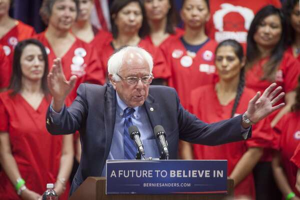 """The Democratic Party 2016 presidential candidate, Senator Bernie Sanders addresses members of the National Nurses United about health care and expanding his """"Medicare for All"""" platform in Emeryville, California, USA 31 May 2016. (Peter DaSilva/Special to The Chronicle)"""
