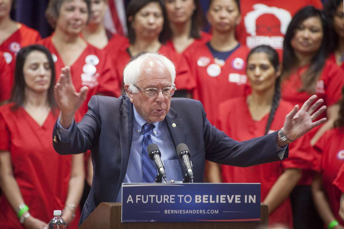 The Democratic Party 2016 presidential candidate, Senator Bernie Sanders addresses members of the National Nurses United about health care and expanding his