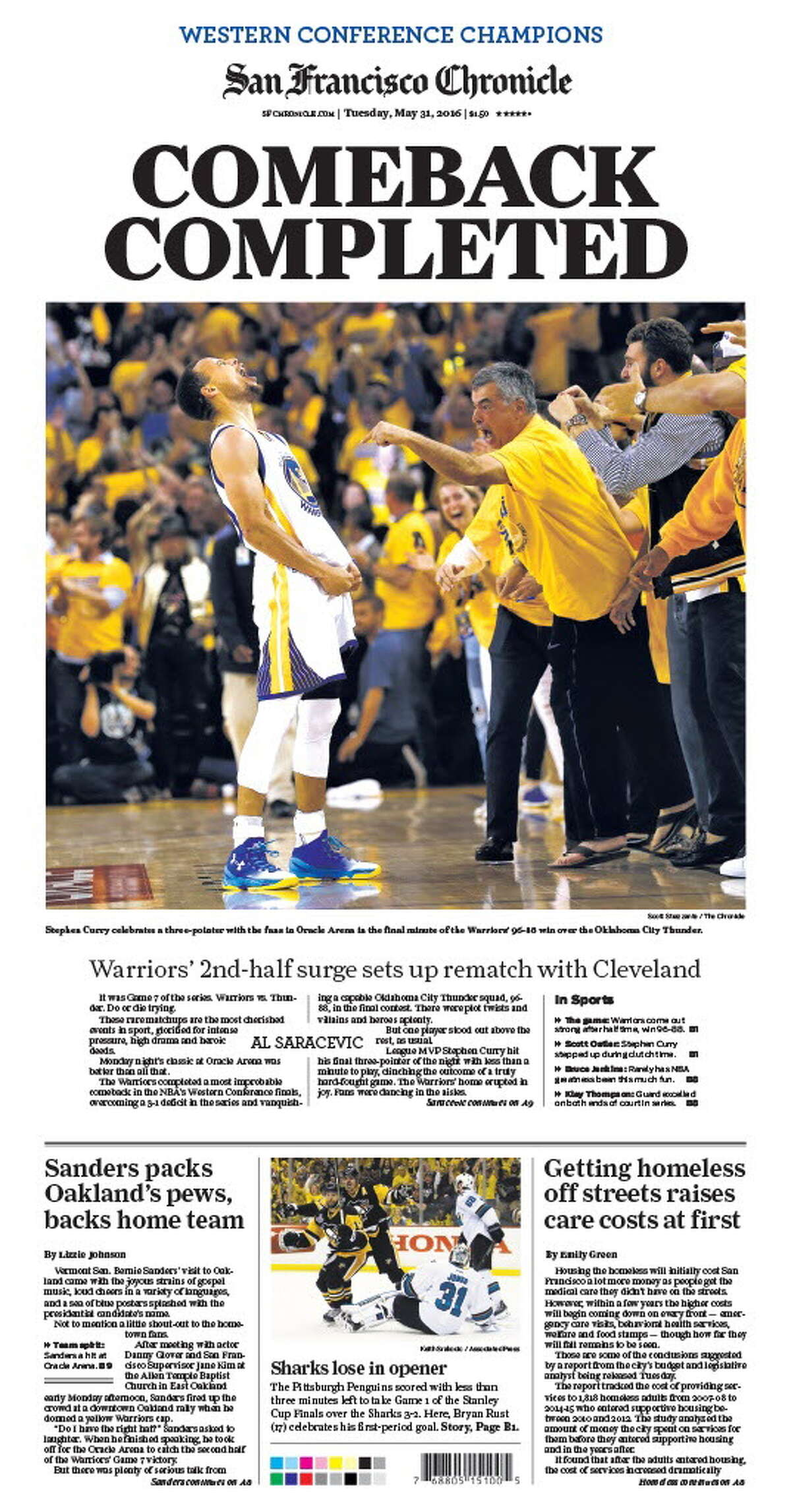 Stephen Curry celebrates near Apple executive Eddy Cue after hitting a decisive three-pointer at the end of Game 7 of the Western Conference Finals.