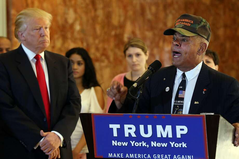 NEW YORK, NY - MAY 31:  Former Marine Al Baldasaro defends the donations of Republican presidential candidate Donald Trump at a news conference at Trump Tower where Trump addressed issues about the money he pledged to donate to veterans  groups on May 31, 2016 in New York City. Trump had previously said he had raised $6 million at the nationally broadcast fund-raiser he attended instead of the debate and that he would donate it all to veterans groups.  (Photo by Spencer Platt/Getty Images) Photo: Spencer Platt, Getty Images