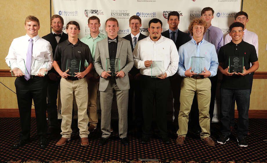 2016 Beaumont Enterprise Super Gold Baseball First Team, presented by Howell Furniture. From left, Port Neches-Groves' Ryan Leckich, Kirbyville's Jackson Gore, Kirbyville's Tyler Brown, Vigor's Zach Hester, Hardin-Jefferson's Logan Thompson, Hardin-Jefferson's Logan Thompson, Kirbyville's Tod McDowell, Memorial's Ramiro Sanchez, Jasper's John Mcmillan, West Orange-Stark's Jack Dallas, Lumberton's Brandon Young, West Orange-Stark's Payton Robertson, Port Neches-Groves' Carter Henry at the Beaumont Enterprise Super Gold 2016 Spring Sports Banquet presented by Howell Furniture. The annual event honors area athletes.  Photo taken Wednesday, May 25, 2016 Guiseppe Barranco/The Enterprise Photo: Guiseppe Barranco, Photo Editor