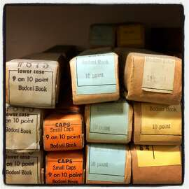 Stacks of vintage lead type star in the Arion Press composing room during the Grabhorn Institute Dinner. May 2016.