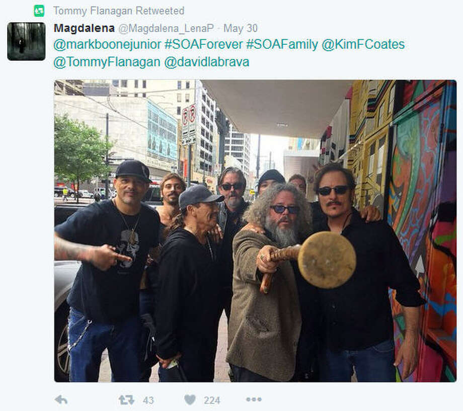 "Even though the ""Sons of Anarchy"" cast seemed to be beleaguered by the delays and confusion on site they made the best of their weekend in Houston for Space City Comic Con, May 27-29, 2016. Photo: Twitter"