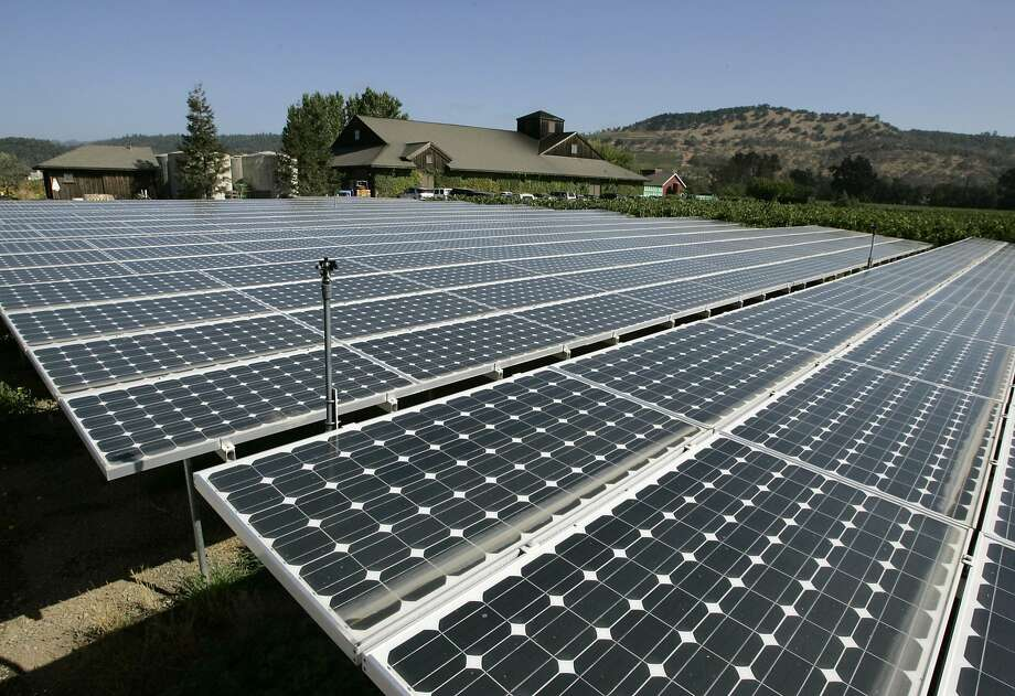 Solar panels, growing in popularity, are producing a larger share of electrical power. Photo: Eric Risberg, AP