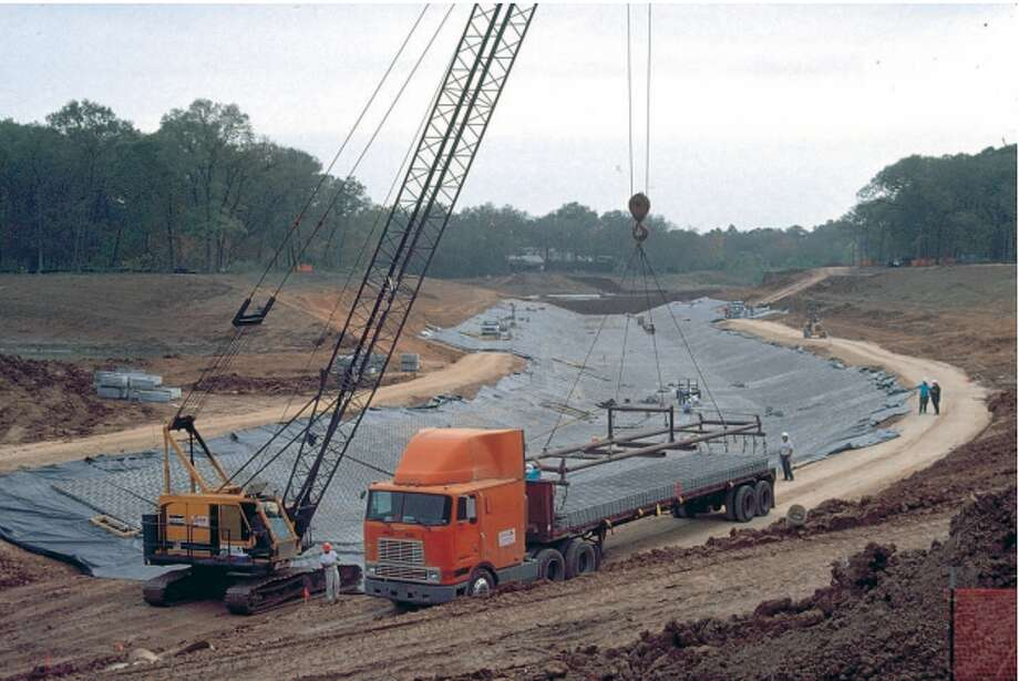 Sims Bayou Federal Project under construction, 1998. Image via Harris County Flood Control District