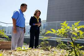 Ed Rhee (left), director of the middle school, and House Minority Leader Nancy Pelosi, D-San Francisco, look at a rooftop garden during Pelosi's trip to Children's Day School in San Francisco, California, on Tuesday, May 31, 2016.