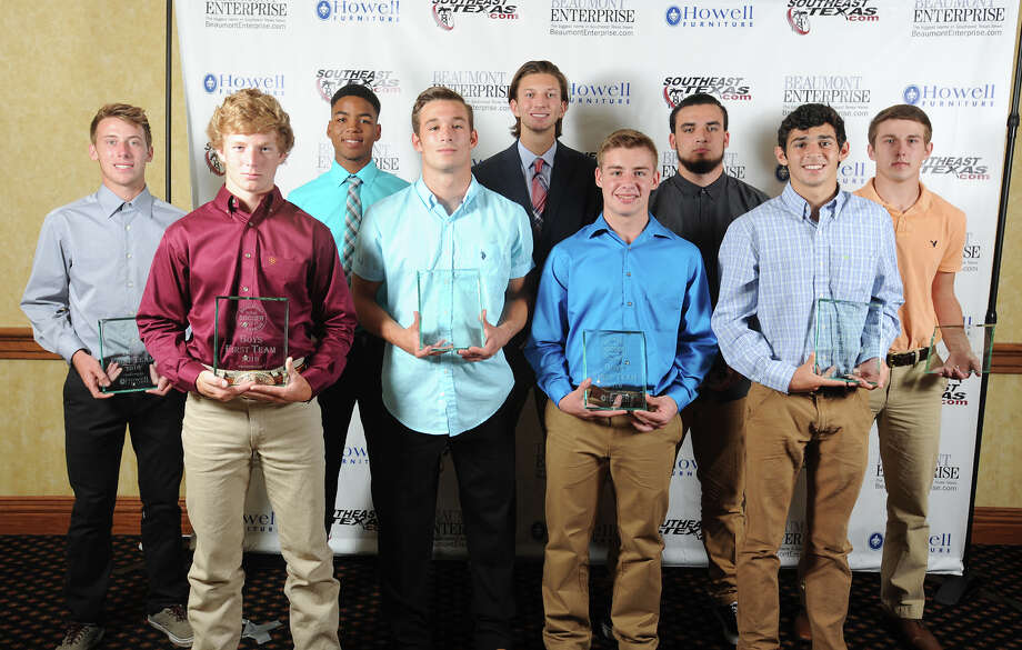 2016 Beaumont Enterprise Super Gold Boys Soccer First Team, presented by Howell Furniture. From left, Port Neches-Groves' Koby Jones, Silsbee's Brady Carter, Silsbee's Caleb Curry, Port Neches-Groves' Bryce Meche, West Brook's Jackson Le Blanc, Nederland's Ethan Landry, Nederland's Anthony Drago, Kelly's Cal Bryan, Little Cypress Mauriceville's Dallas Stewart at the Beaumont Enterprise Super Gold 2016 Spring Sports Banquet presented by Howell Furniture. The annual event honors area athletes.  Photo taken Wednesday, May 25, 2016 Guiseppe Barranco/The Enterprise Photo: Guiseppe Barranco, Photo Editor