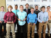 2016 Beaumont Enterprise Super Gold Boys Soccer First Team, presented by Howell Furniture. From left, Port Neches-Groves' Koby Jones, Silsbee's Brady Carter, Silsbee's Caleb Curry, Port Neches-Groves' Bryce Meche, West Brook's Jackson Le Blanc, Nederland's Ethan Landry, Nederland's Anthony Drago, Kelly's Cal Bryan, Little Cypress Mauriceville's Dallas Stewart at the Beaumont Enterprise Super Gold 2016 Spring Sports Banquet presented by Howell Furniture. The annual event honors area athletes.  Photo taken Wednesday, May 25, 2016 Guiseppe Barranco/The Enterprise