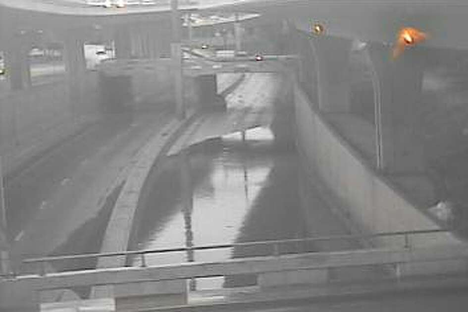 TXDot traffic cameras show high water over lower levels of I-35 Tuesday evening.
