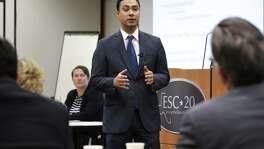 U.S. Rep Joaquin Castro, center and Ruthanne Buck, left, senior advisor to U.S. Secretary of Education, address local education leaders in a discussion on ESSA, the No Child Left Behind rewrite, on Tuesday, May 31, 2016 at ESC Region 20 Headquarters.