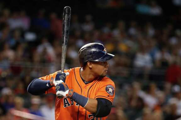 PHOENIX, AZ - MAY 31:  Carlos Gomez #30 of the Houston Astros bats against the Arizona Diamondbacks during the second inning of the MLB game at Chase Field on May 31, 2016 in Phoenix, Arizona.