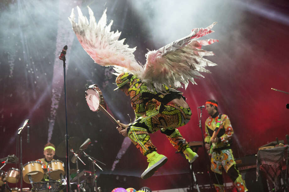 Sufjan Stevens smashes a banjo in his opening song on the final day of Sasquatch! at the Columbia River Gorge, Monday, May 30, 2016. Photo: Grant Hindsley, SEATTLEPI.COM / SEATTLEPI.COM