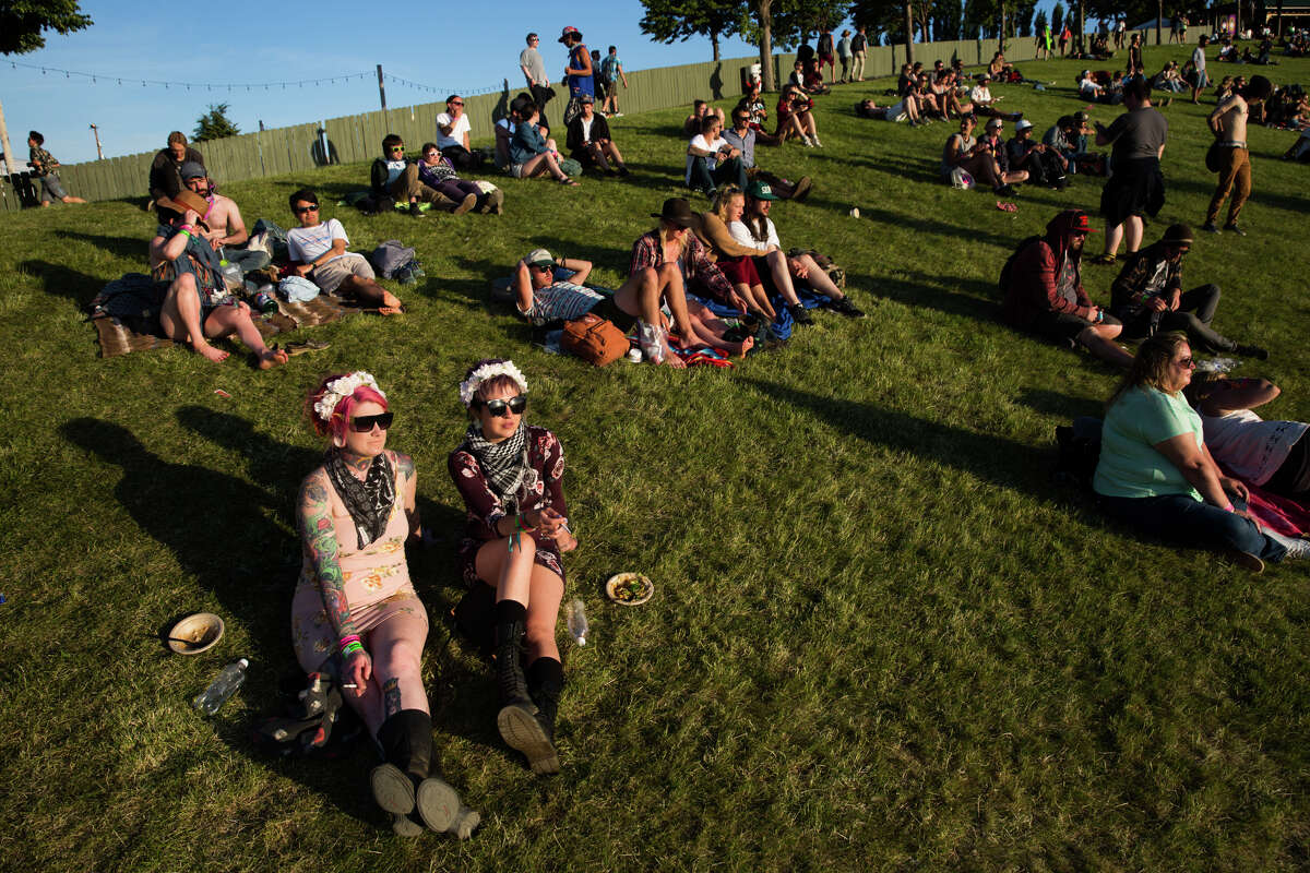 Festival-goers watch Grimes perform from the hillside above the Columbia River Gorge on the final day of Sasquatch! at the Columbia River Gorge, Monday, May 30, 2016.
