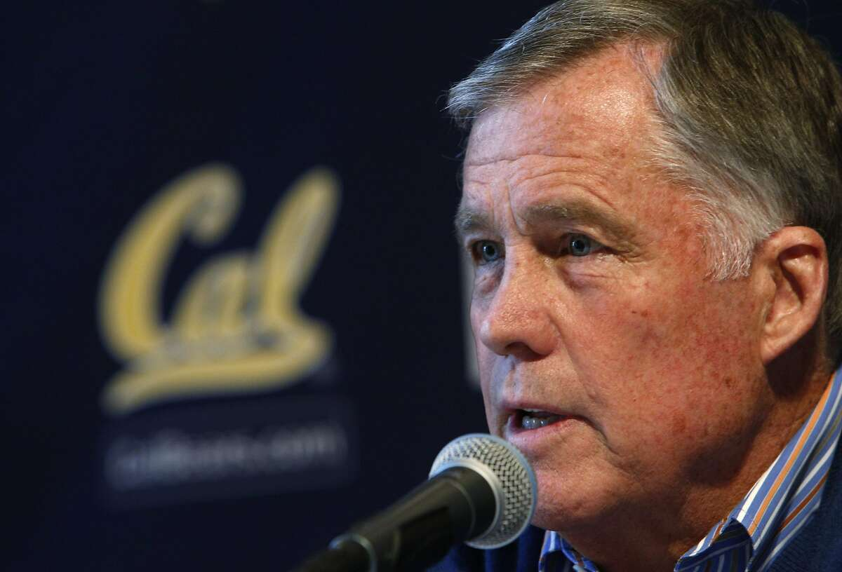 Cal coach Mike Montgomery answers questions from the press after he announced his retirement on Monday, March 31, 2014, at Haas Pavilion in Berkeley, Calif.