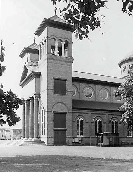 A photo from 1966 shows two crosses on the  St Anthony Cathedral Basilica. The cross pictured left was destroyed Sunday morning when lighting struck the structure. Enterprise archive Photo: Guiseppe Barranco, Photo Editor
