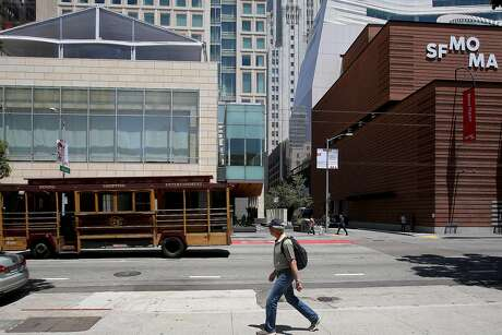 View of the Regis Hotel (left) and part of SFMOMA (right) seen on Monday, May 30, 2016 in San Francisco, Calif.  The SFMOMA building heightens our impressions of its surroundings.