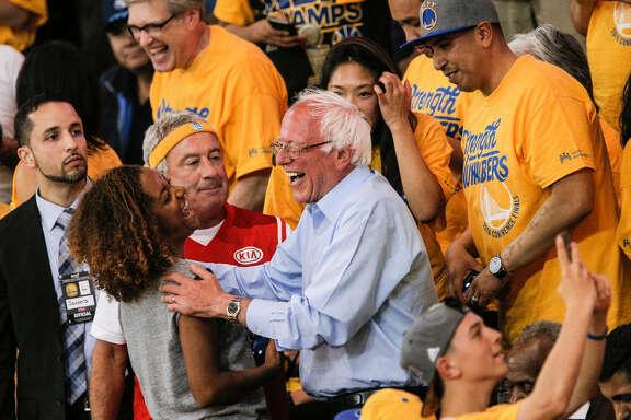 Sanders at Warriors game