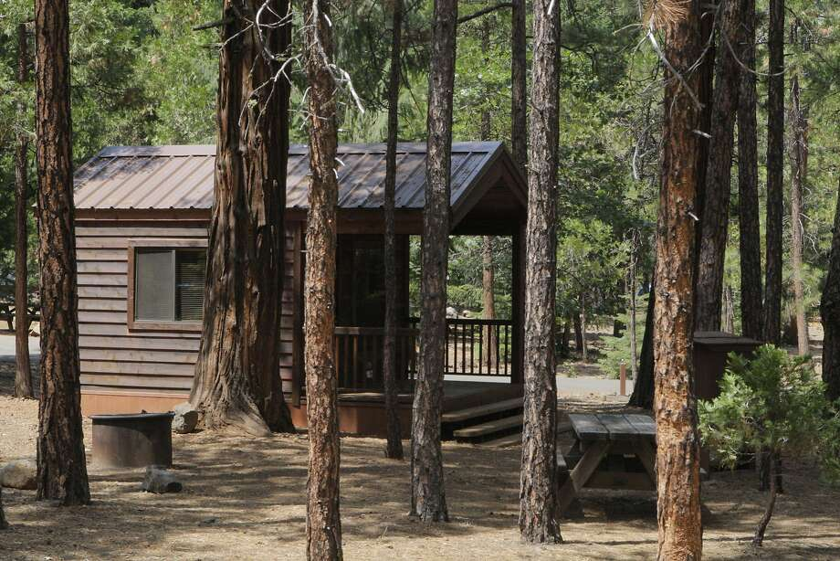 Camping cabins are available for Labor Day Weekend — not all booked — at McArthur-Burney Falls State Park State Park, which has  24 pretty camping cabins, plus 128 tent and RV campsites, set in cedar and pine forest. Lake Britton is within a mile. Photo: Tom Stienstra