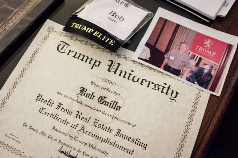 Ex-students at Trump University, like Robert Guillo of Manhasset, N.Y., say coercive tactics were used to elicit glowing marks for Donald Trump's real estate classes in evaluations he is now using against them. Guillo said he spent $36,000 on classes and wants a refund.  Photo: ANDREW RENNEISEN, STR / NYTNS