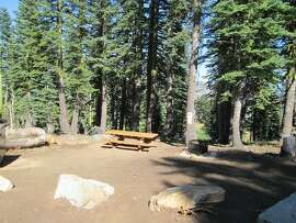 This empty campsite was found at Grouse Ridge in north Tahoe National Forest in the Bowman Lakes Recreation Area, a great trailhead camp -- and within walking range of the Grouse Ridge Lookout