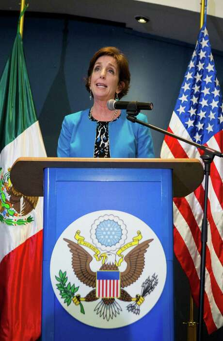 Roberta Jacobson, the newly appointed U.S. ambassador to Mexico, makes a brief statement to the press, at Benito Juarez International Airport in Mexico City on May 26, 2016. (AP Photo/Rebecca Blackwell) Photo: Rebecca Blackwell, STF / Copyright 2016 The Associated Press. All rights reserved. This material may not be published, broadcast, rewritten or redistribu