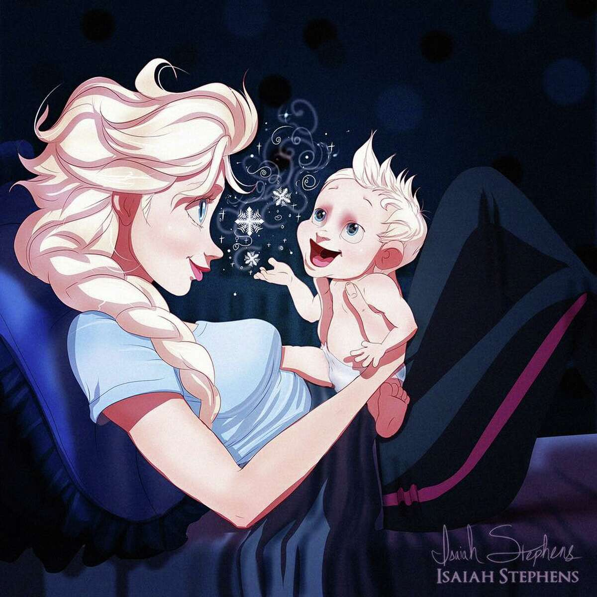 Artist Isaiah Stephens took a new approach to Disney relationships and showed the princesses, and princes, as parents.