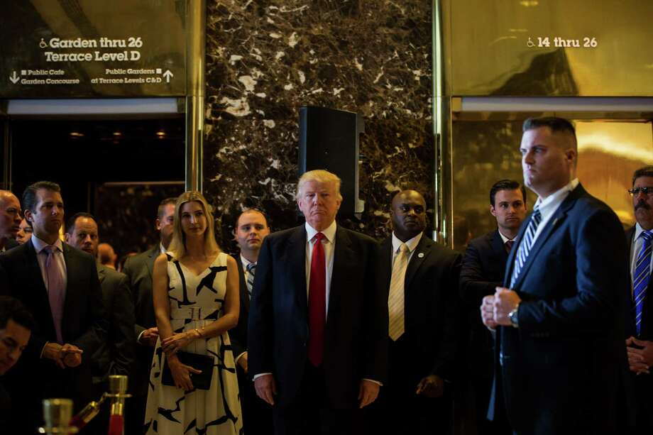 Donald Trump arrives for the news conference at Trump Tower, where he blasted the media. Photo: Damon Winter / New York Times / NYTNS