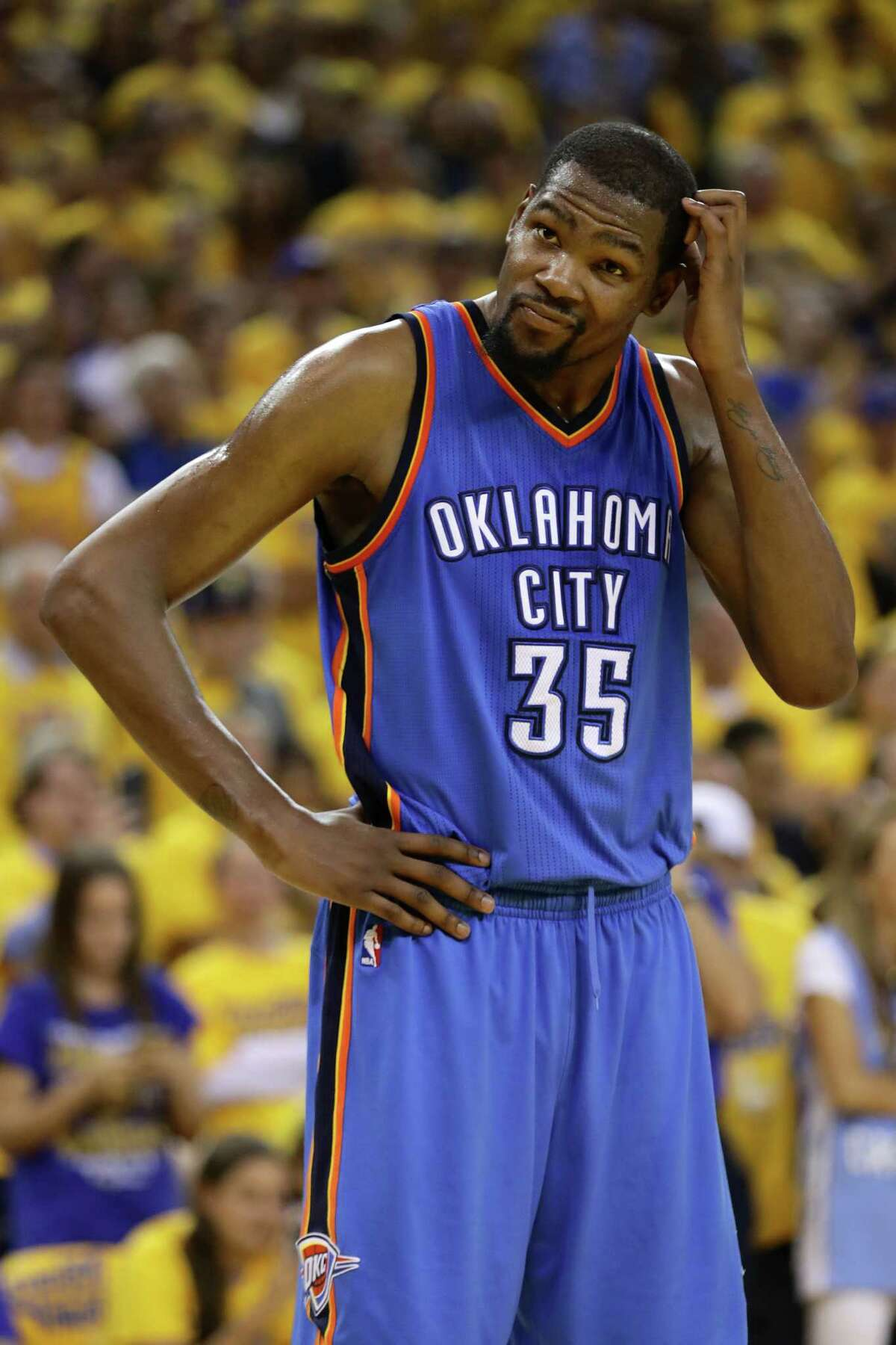 Kevin Durant, Oklahoma City James Harden said he would try to recruit his buddy and former teammate. If Durant will give the Rockets an audience, they will make their pitch, but there is little reason to believe he will leave the Thunder to join a team that went 41-41 last season. He could consider contenders, even one that won 73 games last season and eliminated the Thunder in the playoffs, or he could be the missing superstar in Boston. But he is already on a team on the rise, reinforced with better depth after Thursday's trade, and in a town that reveres him.