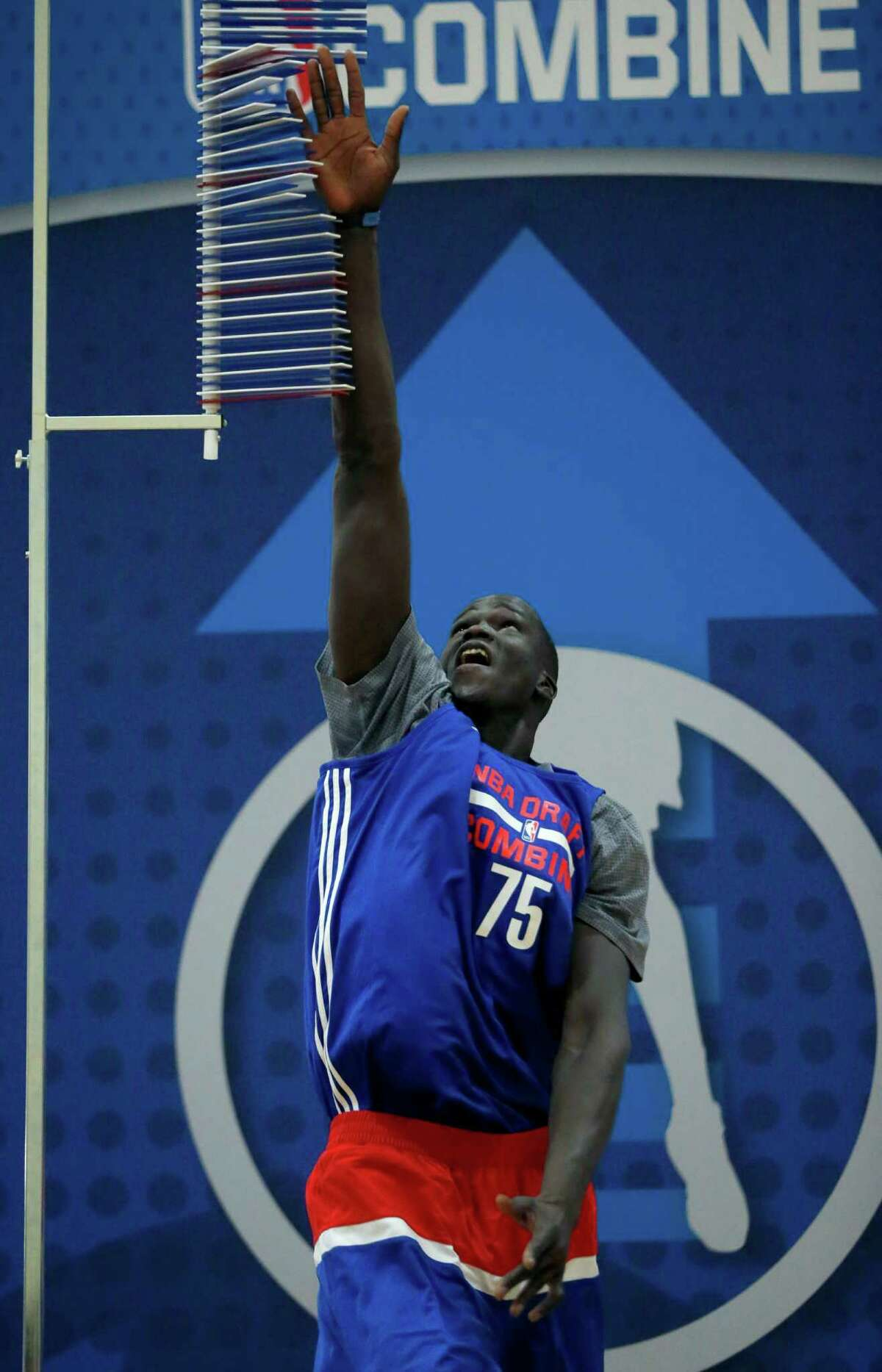 Thon Maker, from Orangeville Prep-Athlete Institute, participates in the NBA draft combine on May 13, 2016, in Chicago.