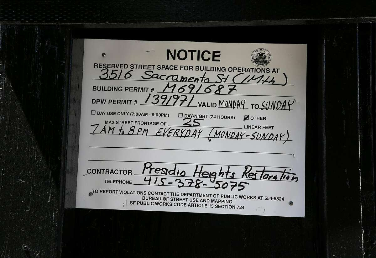A posted construction permit at 3516 Sacramento St. in San Francisco, California, on Tuesday, May 31, 2016.