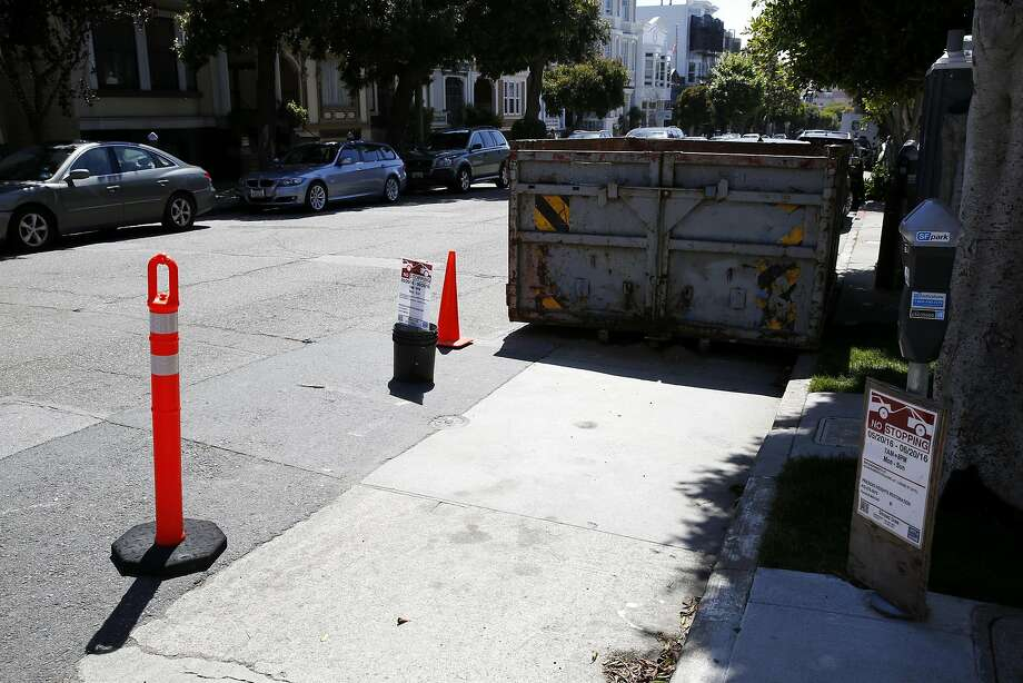 The marked off area beside a dumpster in the construction permitted area outside 3516 Sacramento St. in San Francisco, California, on Tuesday, May 31, 2016. Photo: Connor Radnovich, The Chronicle