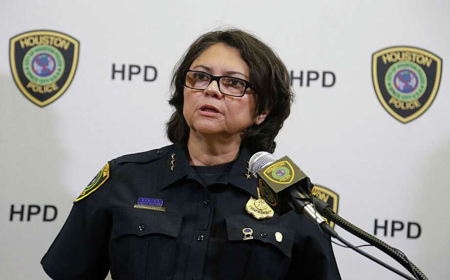 Acting Houston Police Chief Martha I. Montalvo and HPD homicide investigators said they believe Dioniso Garza III broke into a Memorial-area tire shop and spent the night before going on a shooting spree on Sunday.  Photo: James Nielsen, Staff / © 2016  Houston Chronicle