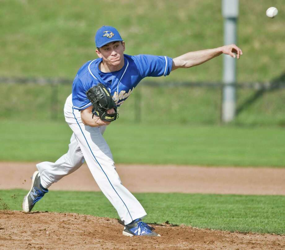 FILE PHOTO: Brookfield High School pitcher Alex Johanesen firing the ball in a game against Newtown High School, played at the Newtown Youth Academy. Monday, April 25, 2016 Photo: SCOTT MULLIN / / Scott Mullin ownership