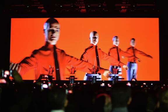 """Dummies stand on stage as German electronic music pioneers Kraftwerk perform  in Berlin in 2015. The group lost a court decision in Germany Tuesday over a music producer's sampling from a 1977 work, """"Metall auf Metall."""""""