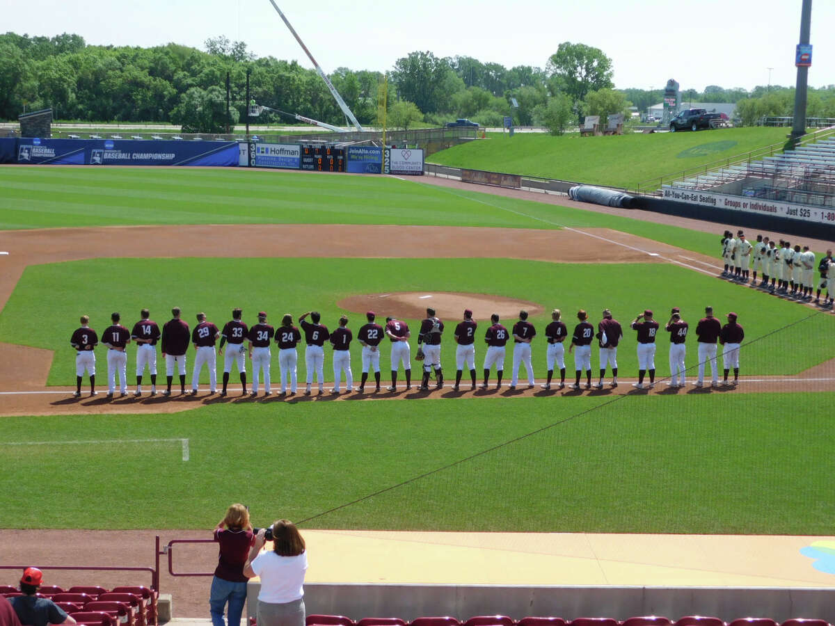 Trinity players are introduced at the start of Tuesday's G1 of the DIII Chamionship in Appleton, Wisc.
