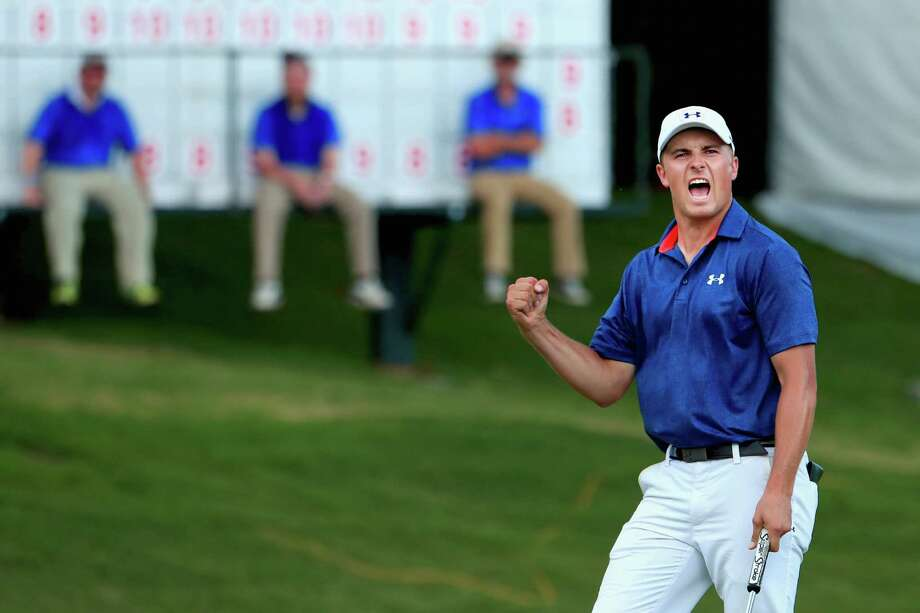 Jordan Spieth reacts after a birdie on the 16th en route to a three-shot victory at the Dean & Deluca Invitational at Colonial in Fort Worth. Photo: Tom Pennington /Getty Images / 2016 Getty Images