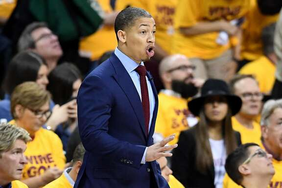 CLEVELAND, OH - MAY 25: Tyronn Lue of the Cleveland Cavaliers looks on from the sideline in the second quarter against the Toronto Raptors in game five of the Eastern Conference Finals during the 2016 NBA Playoffs at Quicken Loans Arena on May 25, 2016 in Cleveland, Ohio. NOTE TO USER: User expressly acknowledges and agrees that, by downloading and or using this photograph, User is consenting to the terms and conditions of the Getty Images License Agreement.  (Photo by Jason Miller/Getty Images)