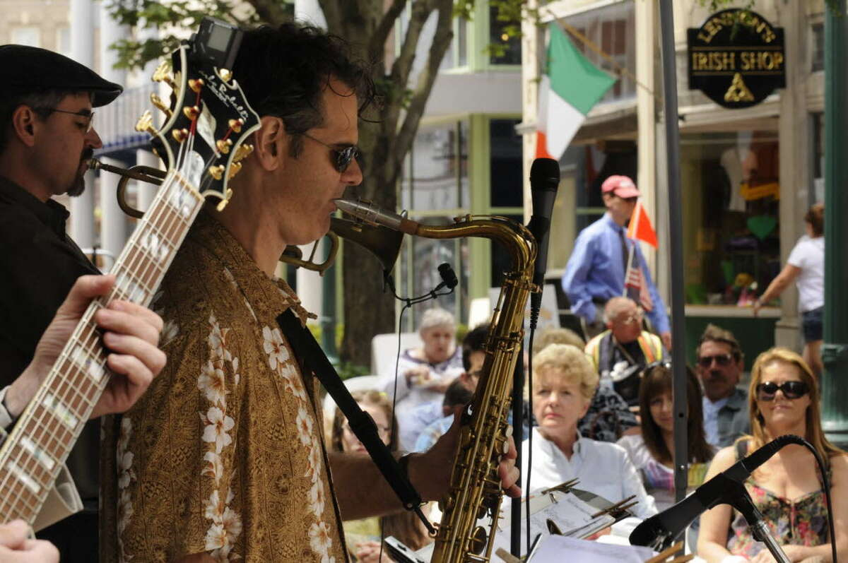 The Terry Gordon Quintet plays for a midday crowd during the opening Thursday of the 17th year of Jazz On Jay in Schenectady, NY Thursday June 30, 2011. ( Michael P. Farrell/Times Union )