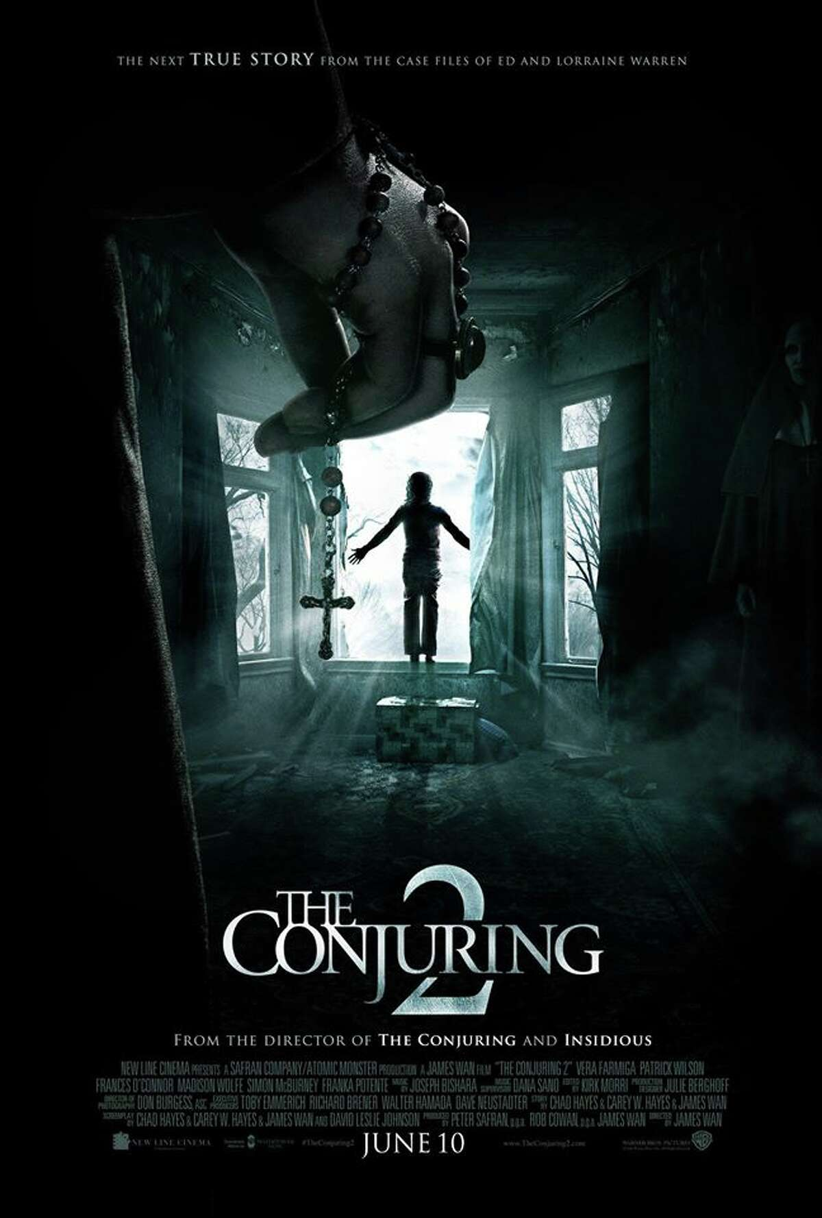 The Conjuring 2 coming June 10. Lorraine and Ed Warren travel to north London to help a single mother raising four children alone in a house plagued by malicious spirits. Starring Vera Farmiga, Patrick Wilson, Franka Potente, Maria Doyle Kennedy.
