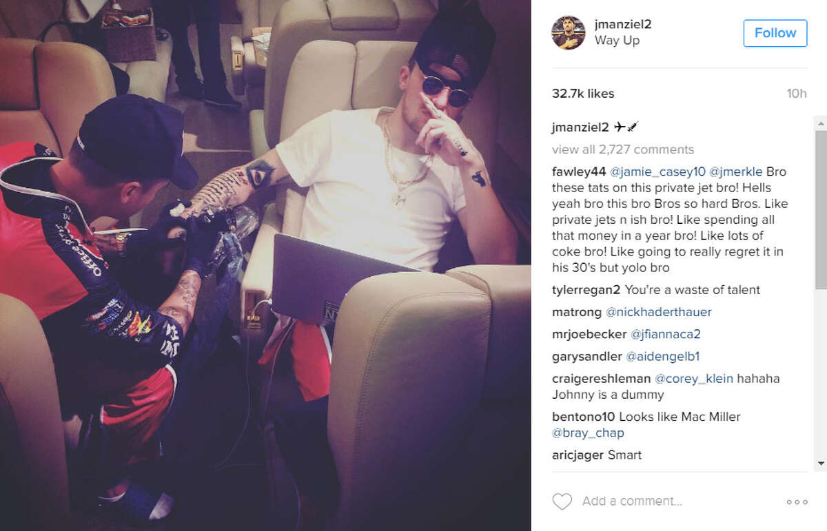 Johnny Manziel posted this photo of him getting a tattoo from Rafael Valdez on Instagram on Tuesday night.