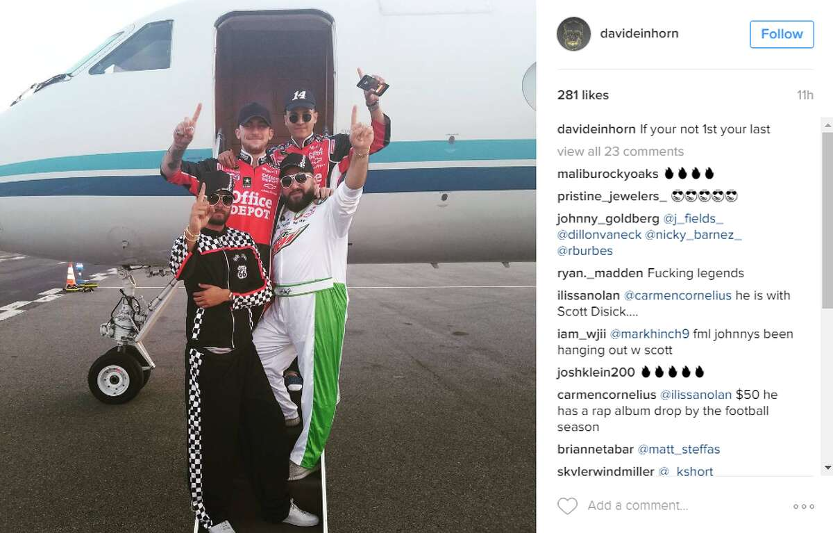 David Einhorn posted this photo on Instagram on Tuesday night of him boarding a private jet with Scott Disick (bottom left), Johnny Manziel (top left), Rafael Valdez and himself.