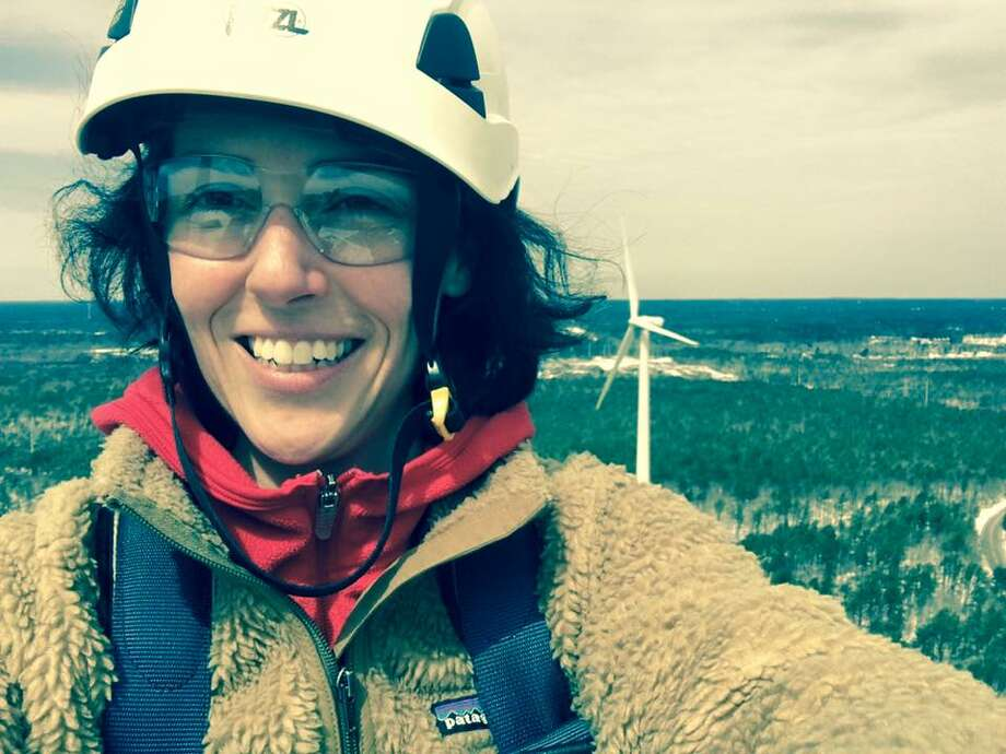 Composer Clarice Assad at the top of a wind turbine (photo courtesy Albany Symphony Orchestra)