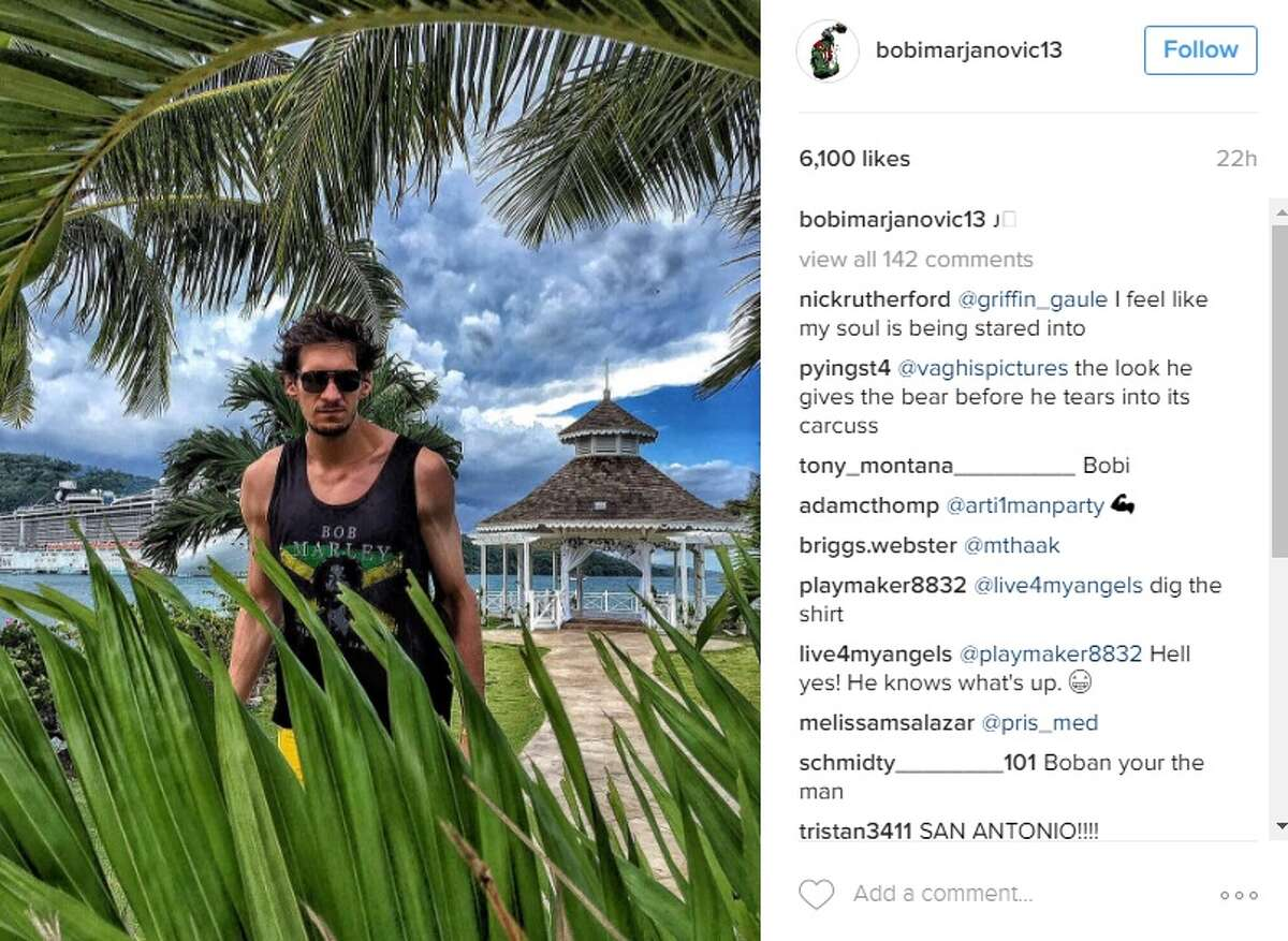 Spurs' Boban Marjanovic posted a photo of himself vacationing in Jamaica on May 31, 2016.