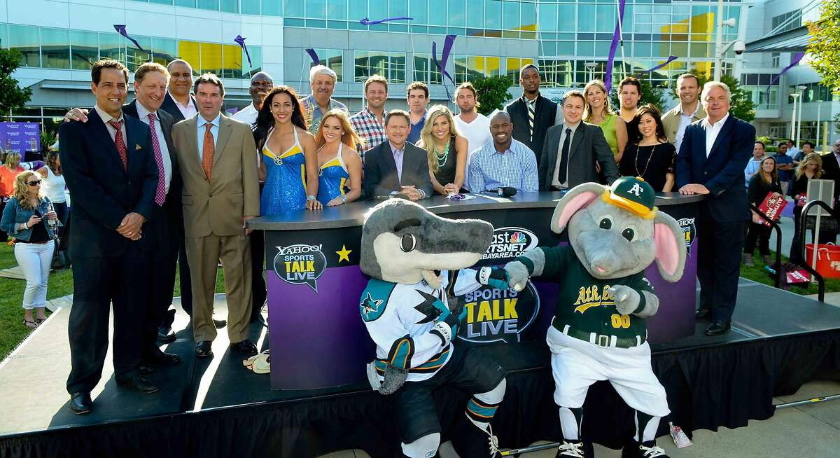 Harrison Barnes and Logan Couture on set of Yahoo! Sports Talk Live in 2013