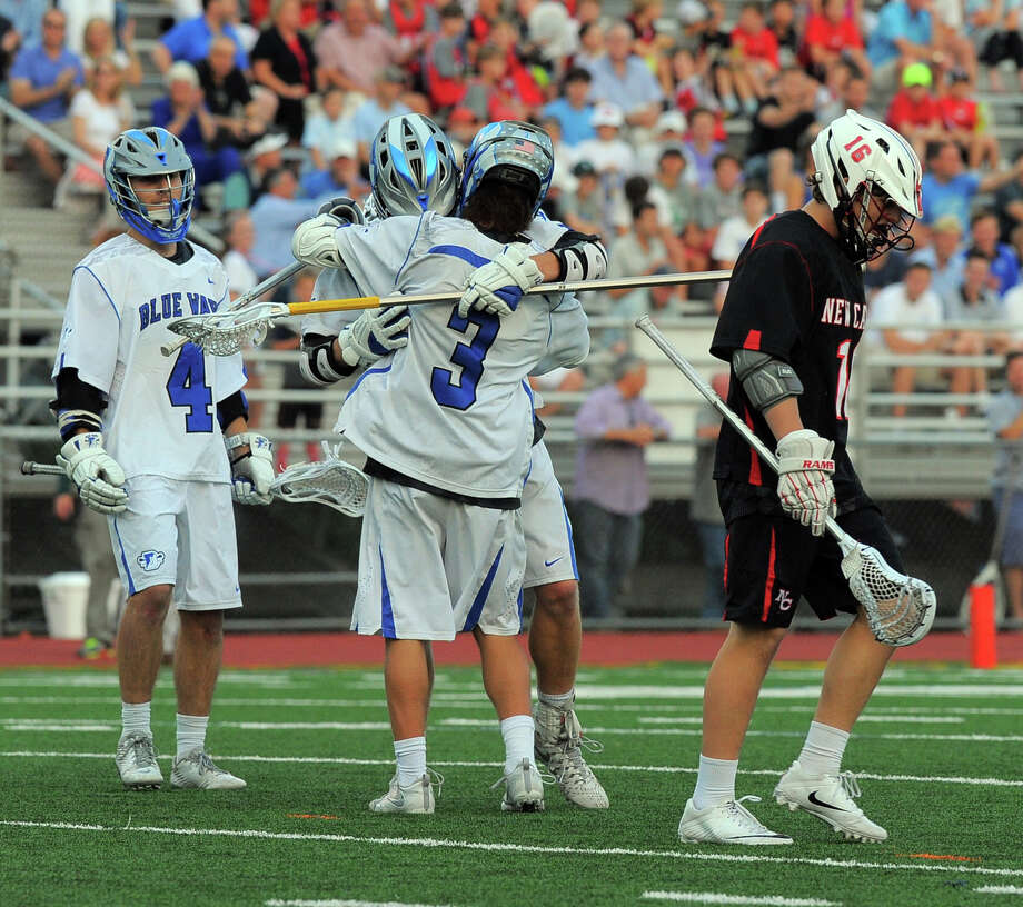 Darien Colin Minicus (3) celebrates a first half goal against New Canaan in a FCIAC Boys Lacrosse Final at Brien McMahon High School in Norwalk, Conn. on May 26, 2016. Photo: Matthew Brown / Hearst Connecticut Media / Stamford Advocate