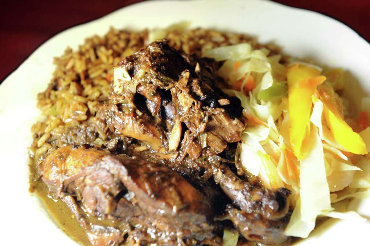 Jerk Chicken on Tuesday, May 24, 2016, at Trinbago Caribbean Restaurant in Albany, N.Y. (Cindy Schultz / Times Union)